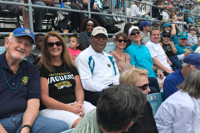 Rotarians proved lucky for the Jacksonville Jaguars Dec. 3, cheering the team on to a decisive win over the Colts!